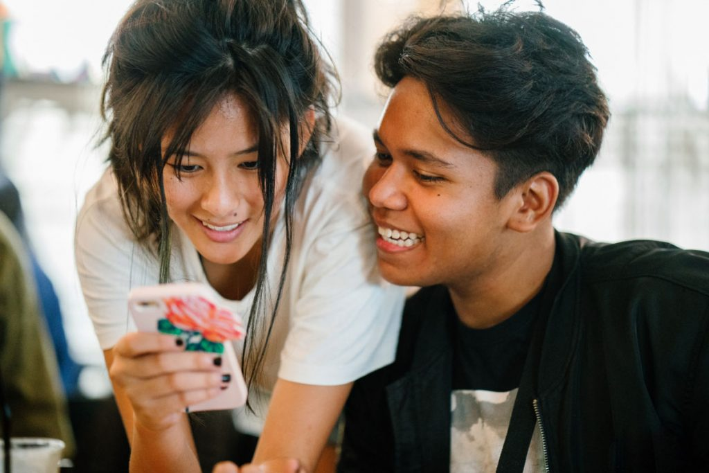 couple looking at a phone