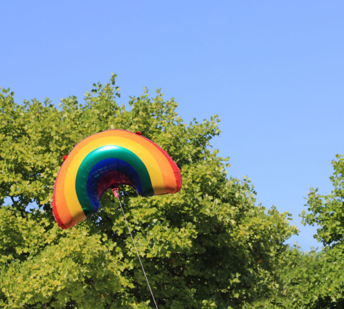 rainbow balloon in front of a blue sky and trees