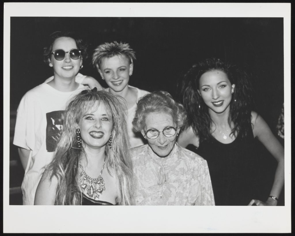 Helen Brook with Birmingham band Fuzzbox, mid-late1980s.