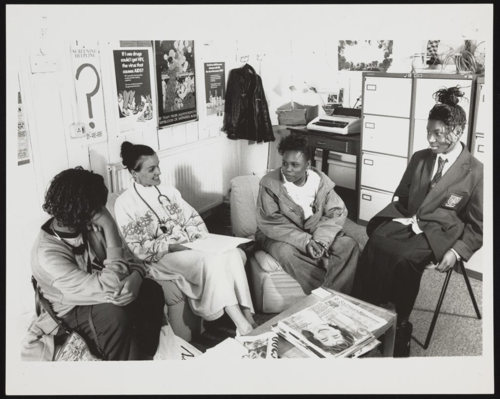 Girls having a sex ed session at a London Brook Centre, 1990s