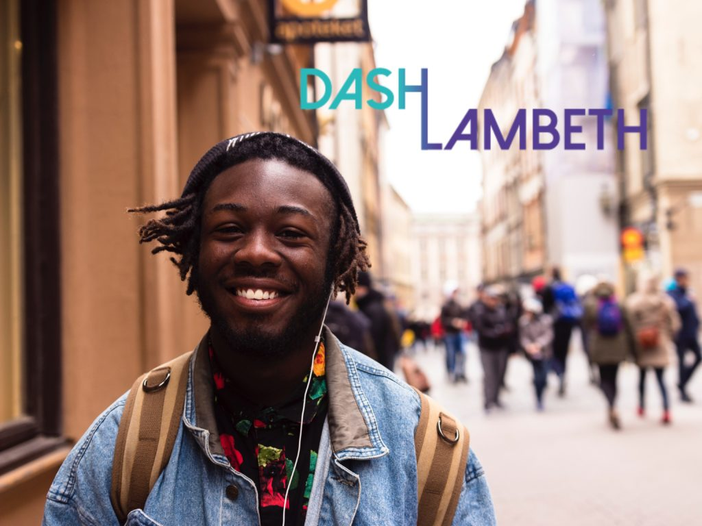 young person smiling at the camera with the DASH Lambeth logo next to them