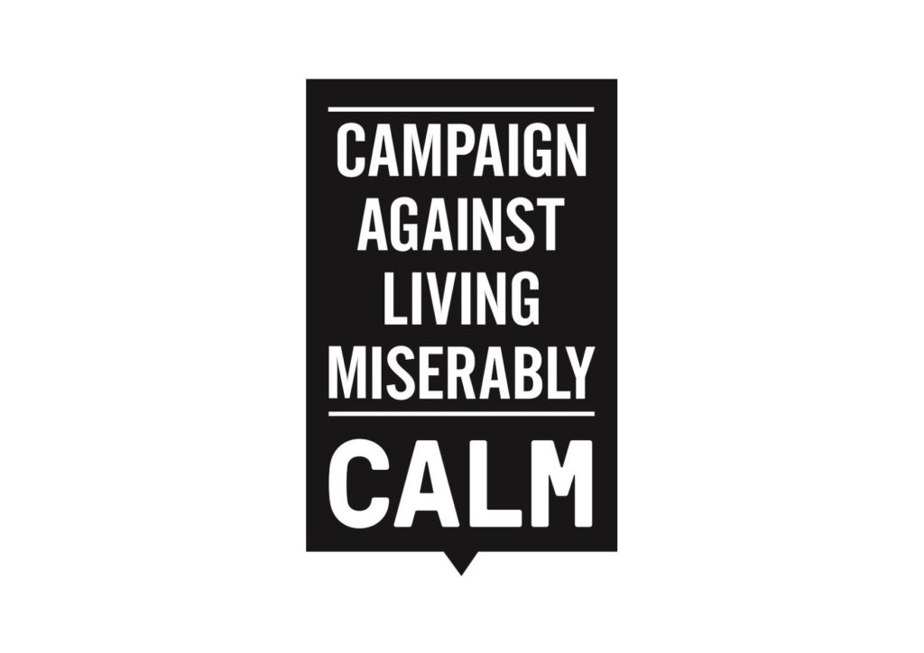 CALM logo, reads: Campaign Against Living Miserably / CALM