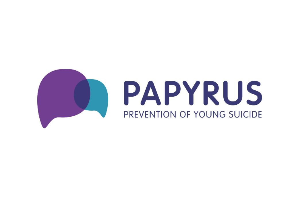 Papyrus logo, reads: Papyrus, prevention of young suicide
