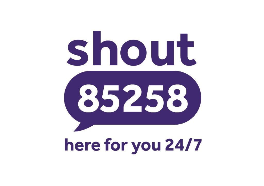 Shout logo, reads: shout 85258, here for you 24/7