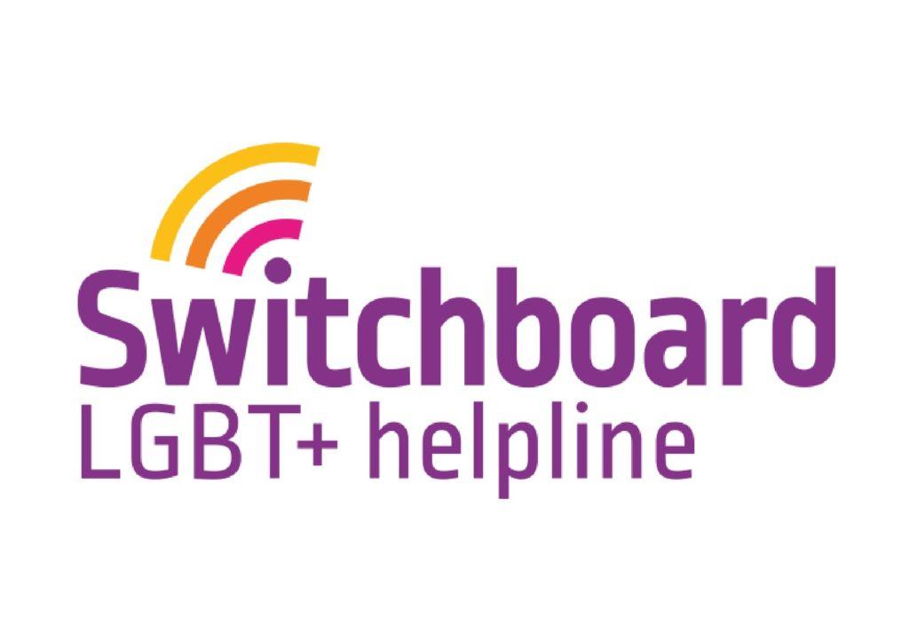 Switchboard logo, reads: Switchboard LGBT+ helpline